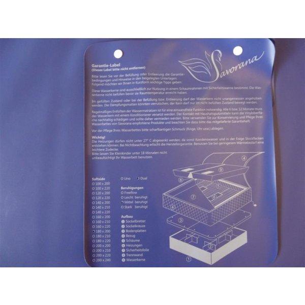 Wassermatratzen Savorana Softside Dual Wasserkerne 2 Stück 180 x 220 cm F0 0% beruhigt = 20-30 Sek. Nachschwingzeit F8 100% beruhigt = 0 Sek. Nachschwingzeit