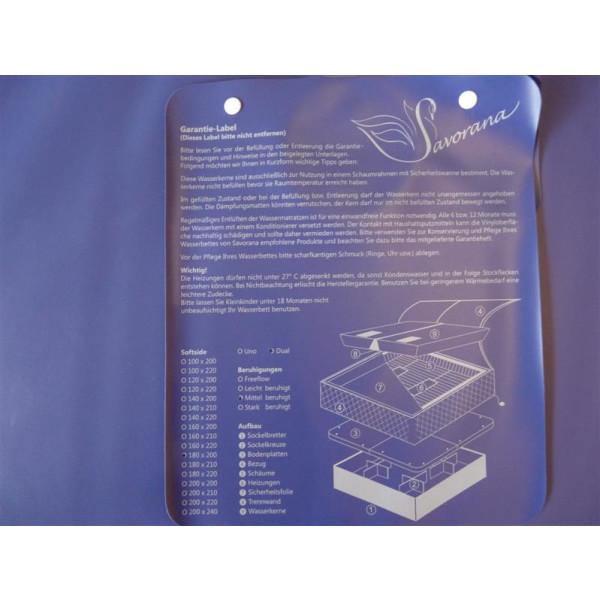 Wassermatratzen Savorana Softside Dual Wasserkerne 2 Stück 200 x 240 cm F8 100% beruhigt = 0 Sek. Nachschwingzeit F2 50% beruhigt = 4-5 Sek. Nachschwingzeit