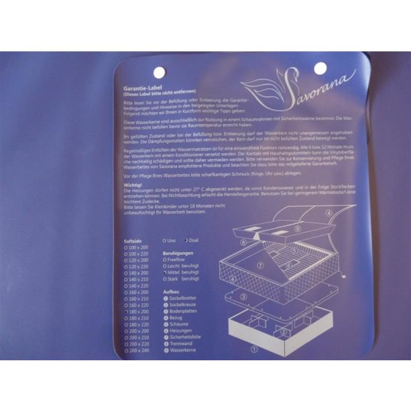 Wassermatratzen Savorana Softside Dual Wasserkerne 2 Stück 180 x 230 cm F0 0% beruhigt = 20-30 Sek. Nachschwingzeit F2 50% beruhigt = 4-5 Sek. Nachschwingzeit