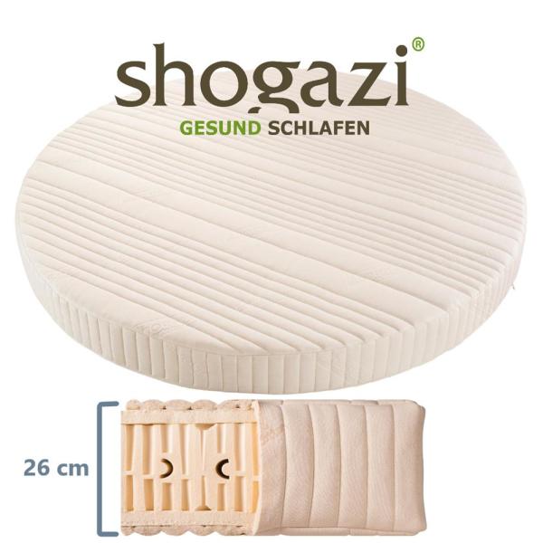 Runde Matratze 100% Naturlatex 7-Zonen 26 cm Royal Mellow Shogazi